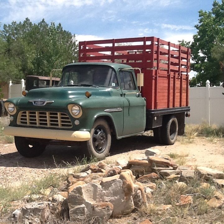 Low miles 1955 Chevy 3800 1 ton Stake side Barn find